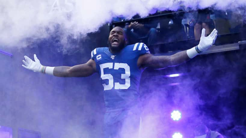 Colts linebacker Darius Leonard coming out of the tunnel.