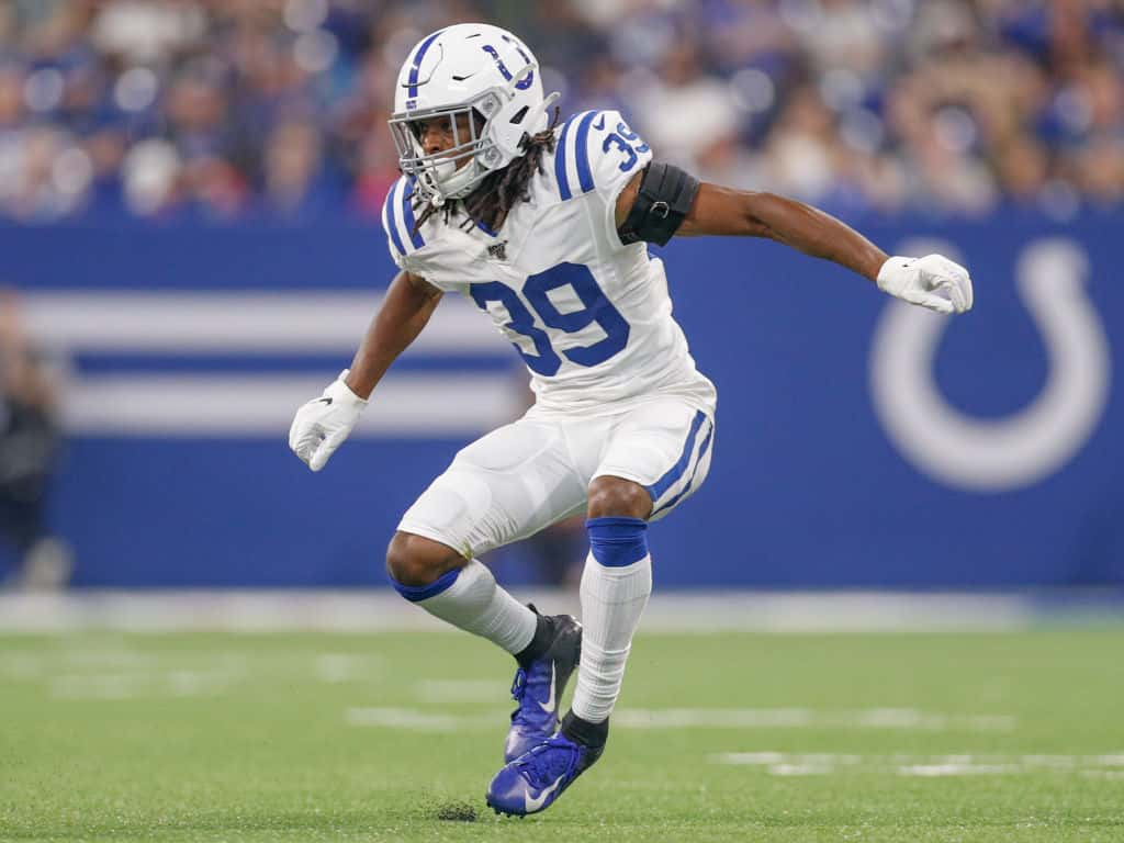 Cornerback Marvell Tell #39 of the Indianapolis Colts drops back in coverage during the preseason game against the Cleveland Browns at Lucas Oil Stadium on August 17, 2019 in Indianapolis, Indiana