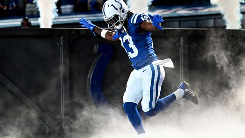 Colts wide receiver T.Y. Hilton exits the tunnel for a home game.