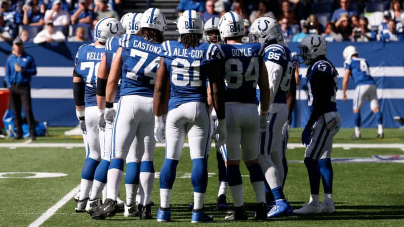 The Colts huddle up before a 2019 game.