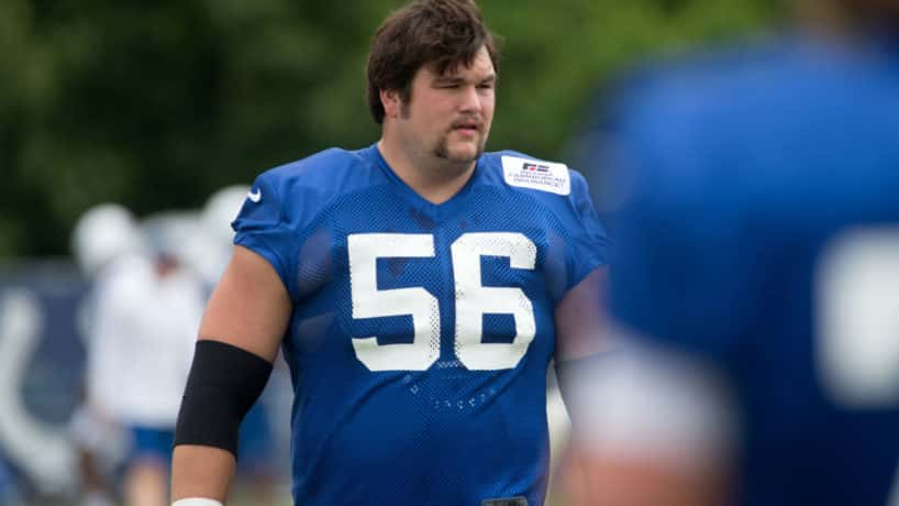 Colts offensive guard Quenton Nelson comes out for practice.
