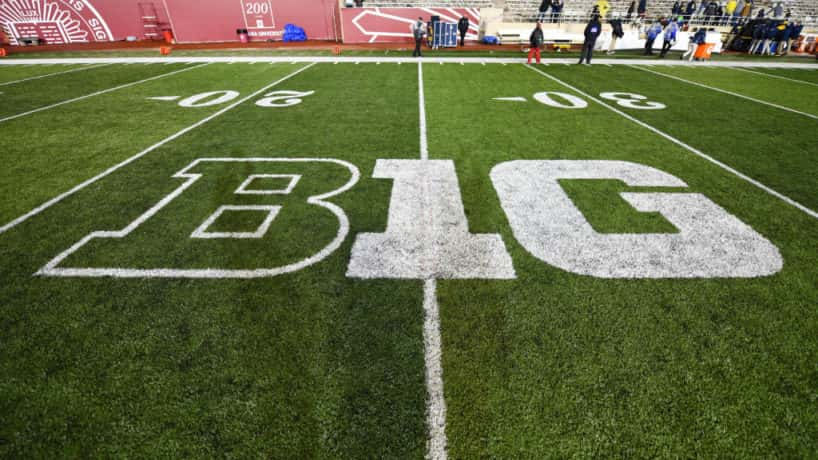 The Big Ten Conference logo at Memorial Stadium following a college football game between the Michigan Wolverines and Indiana Hoosiers