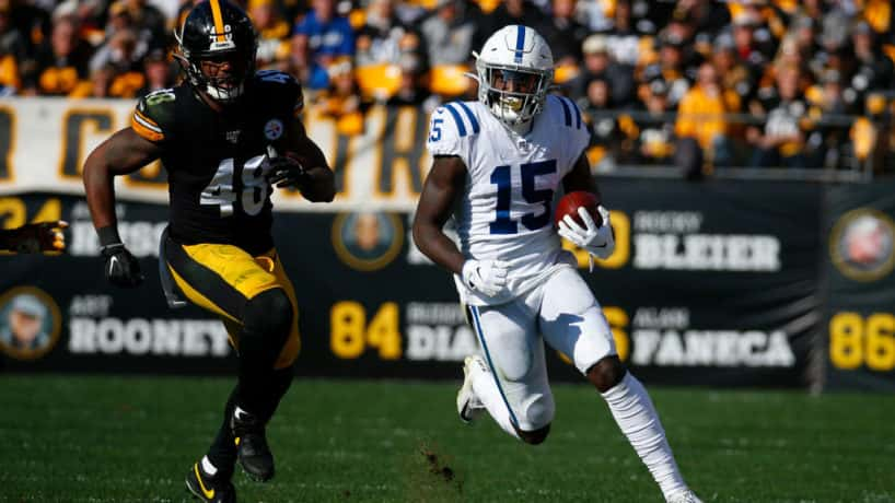 Colts wide receiver Parris Campbell runs in the open field in a 2019 game.