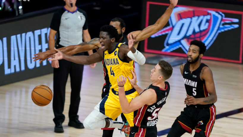 Victor Oladipo tries to drive in Game 2.