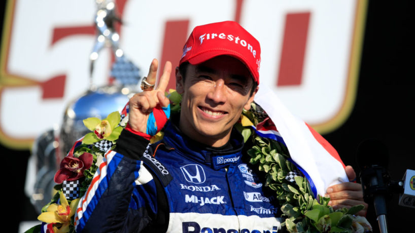 Takuma Sato, driver of the #30 Panasonic / PeopleReady Rahal Letterman Lanigan Racing Honda, celebrates in Victory Lane after winning the 104th running of the Indianapolis 500 at Indianapolis Motor Speedway on August 23, 2020 in Indianapolis, Indiana