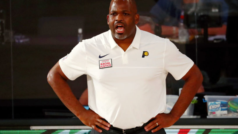 Pacers head coach Nate McMillan looks on from the sideline.