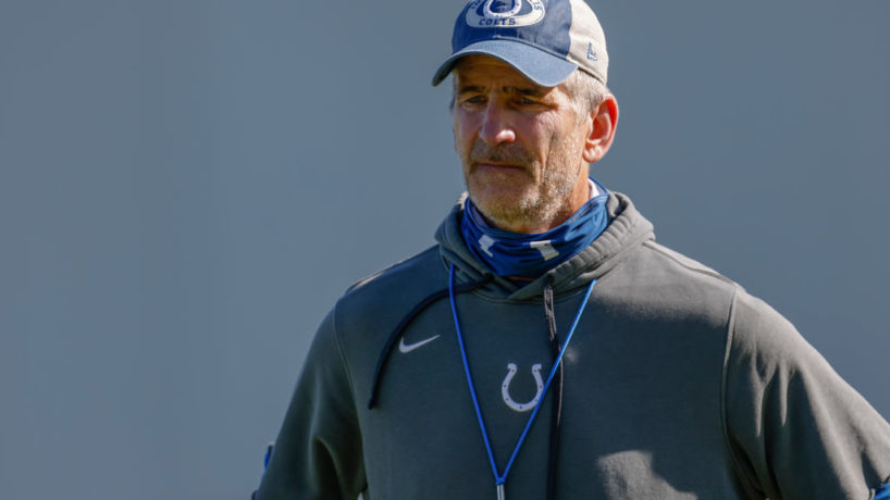 Frank Reich looks on at a training camp practice.