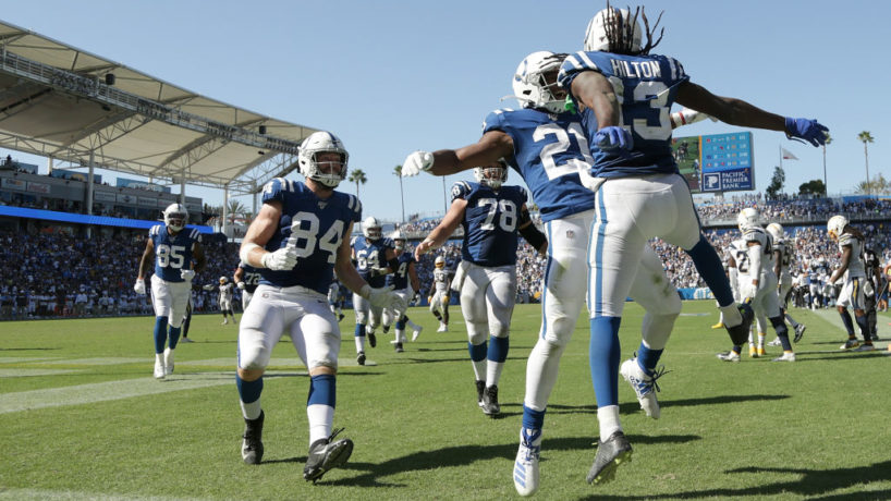 Colts players celebrate after a Week 1 touchdown in Los Angeles.