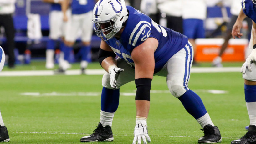 Colts offensive guard Quenton Nelson lines up for a 2019 snap.