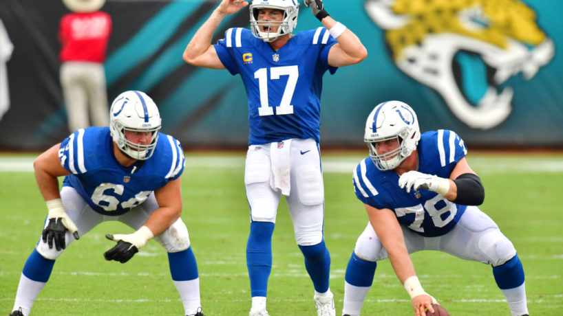 Colts quarterback Philip Rivers gets ready for a 2020 snap with the Colts.