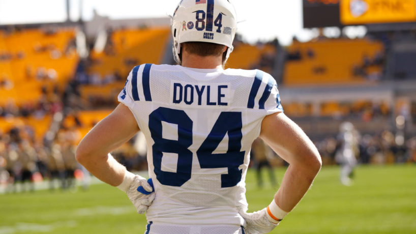 Colts TE-Jack Doyle looks on before a 2019 game.