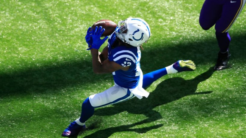 Colts wideout T.Y. Hilton drops a ball in Week Two.
