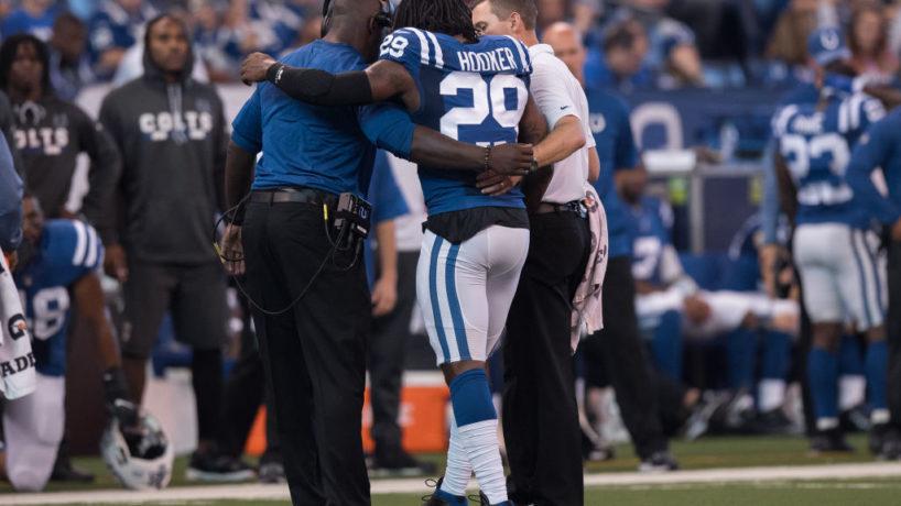 Colts safety Malik Hooker walks off the field.