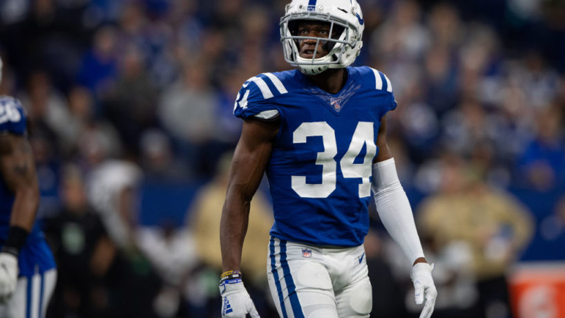 Colts cornerback Rock Ya-Sin gets ready to line up for a 2020 snap.