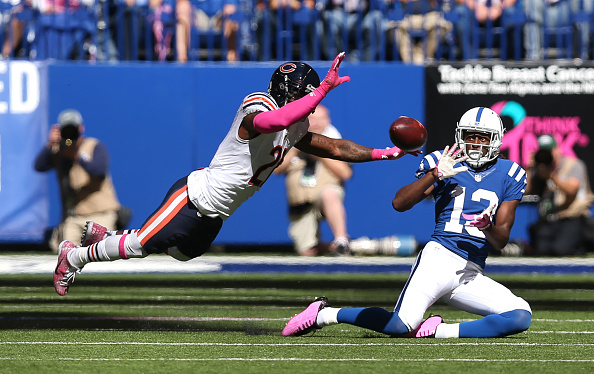 Colts wideout T.Y. Hilton slides to make a catch against the Bears.