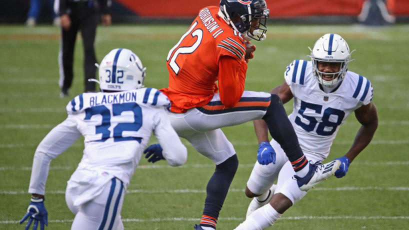 Julian Blackmon and a teammate go in to tackle Allen Robinson in the Colts Week 5 win over the Chicago Bears at Soldier Field