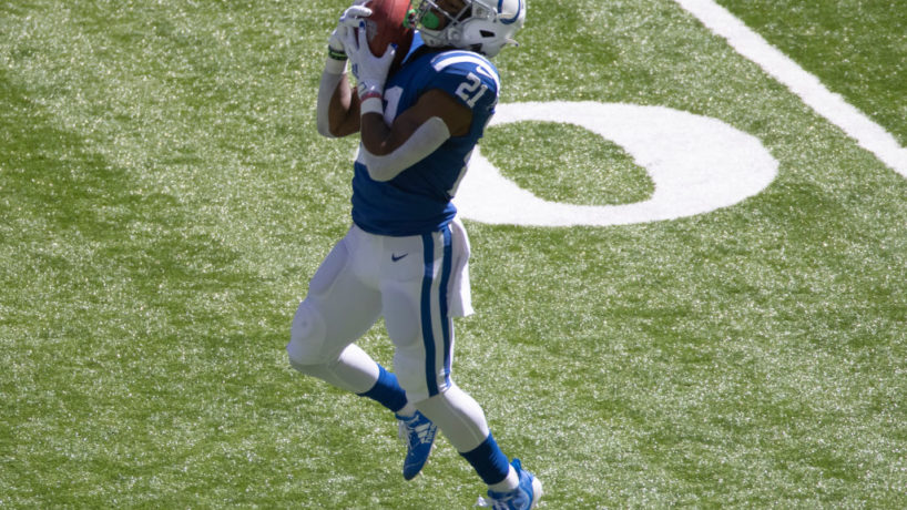 Colts punt returner Nyheim Hines fields a punt.