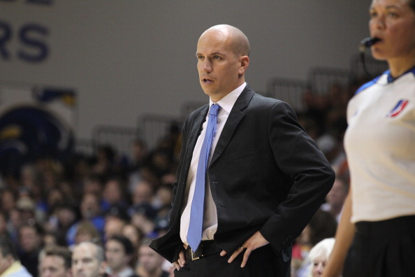 Pacers head coach Nate Bjorkgren stands on the sideline.