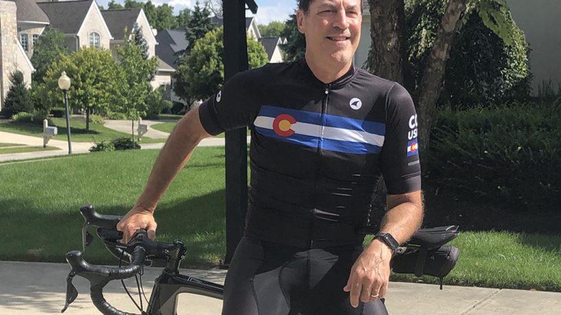 Jeff Rickard sitting on his bike