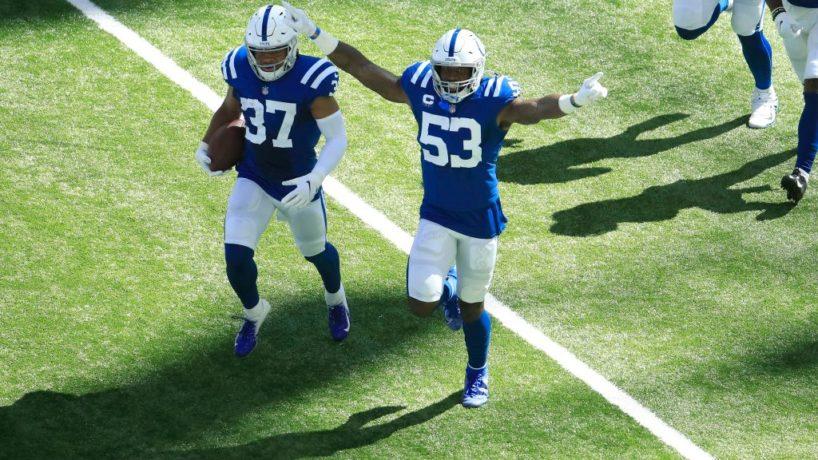 Colts linebacker Darius Leonard runs off the field after a big play.
