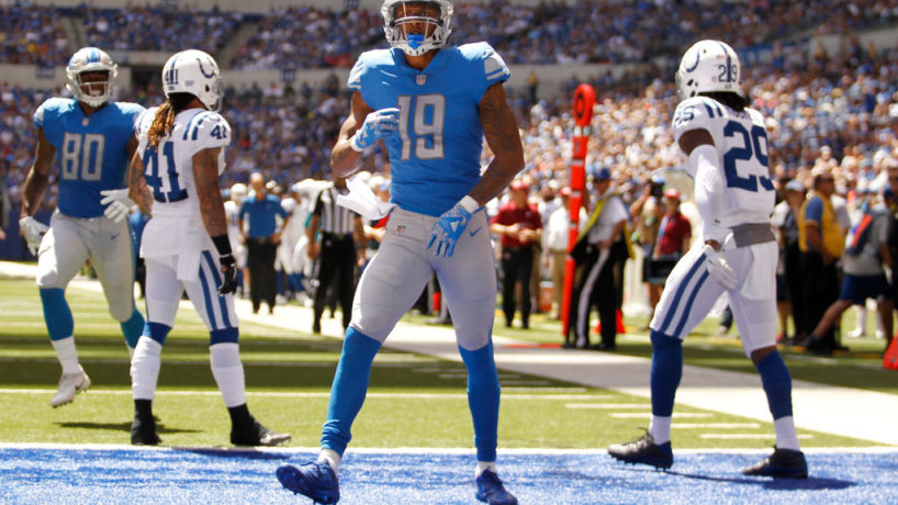 Kenny Golladay celebrates a touchdown in the End Zone at Lucas Oil Stadium
