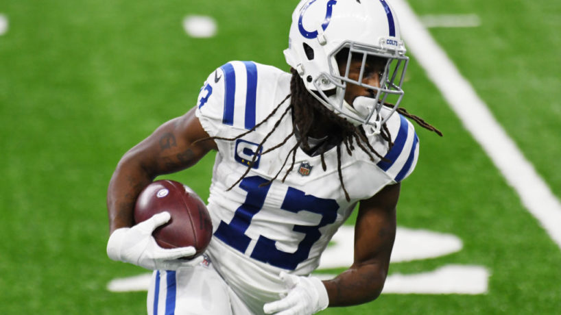 Colts WR-T.Y. Hilton runs after the catch.