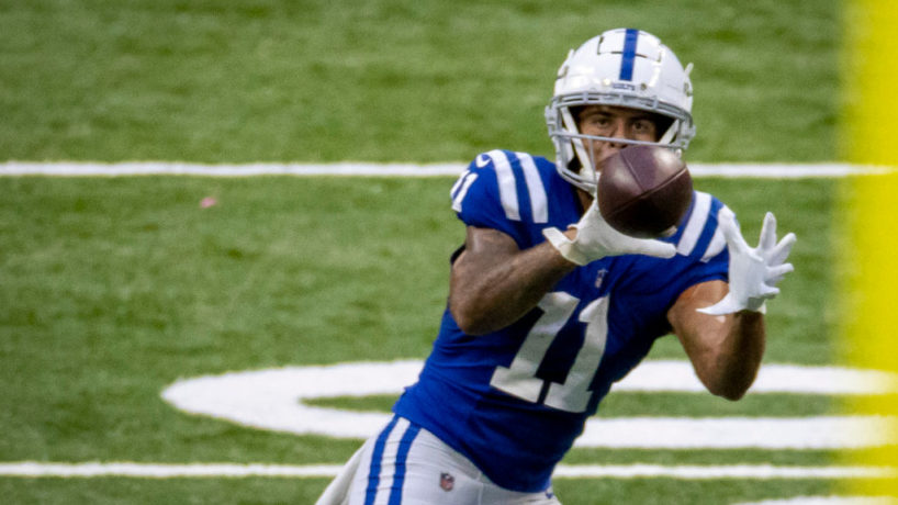 Colts WR-Michael Pittman catches a pass.