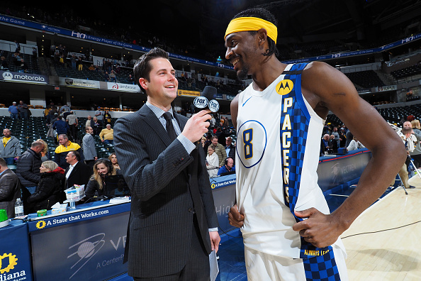 Pacers forward Justin Holiday talks after a game.