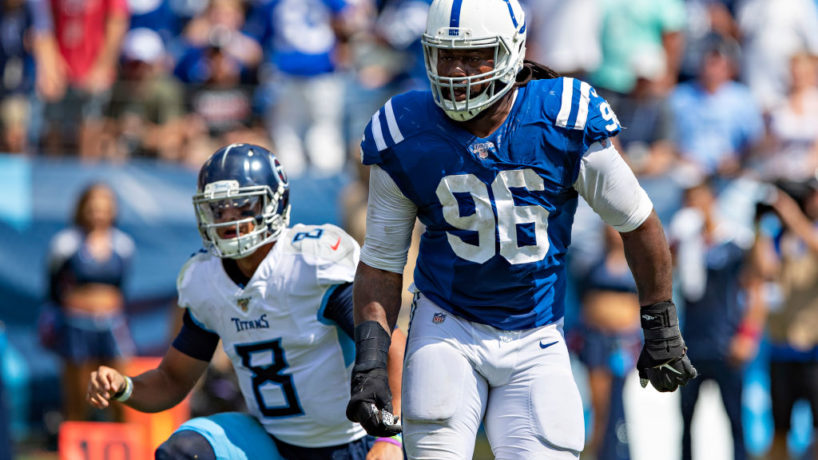 Colts DL-Denico Autry reacts after a sack.