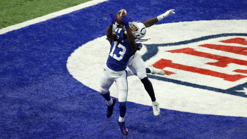 Colts wideout T.Y. Hilton catches a ball in the end zone.