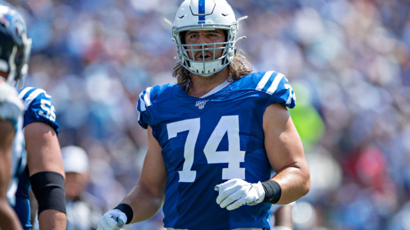 Colts OT-Anthony Castonzo runs to the line of scrimmage.