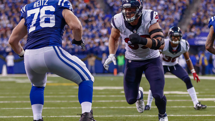 Joe Reitz blocks a charging J.J. Watt in a game versus the Colts and Texans