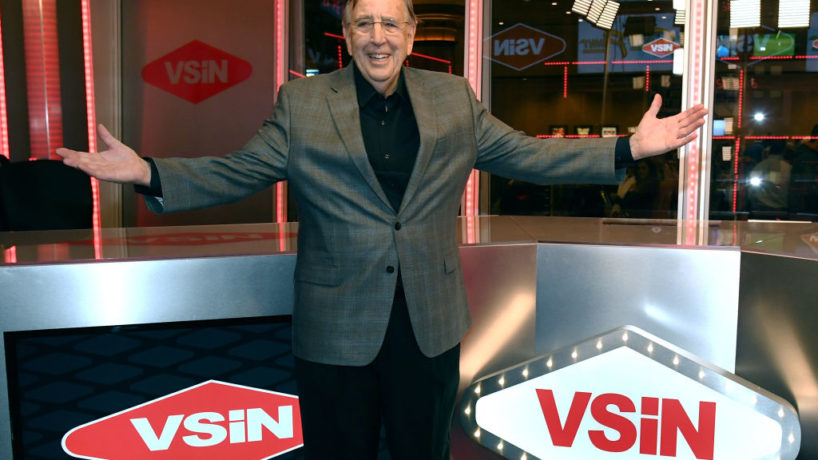 Brent Musburger stands in front of his broadcasting studio in Las Vegas, Nevada