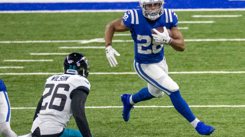 Colts RB-Jonathan Taylor runs in the open field.