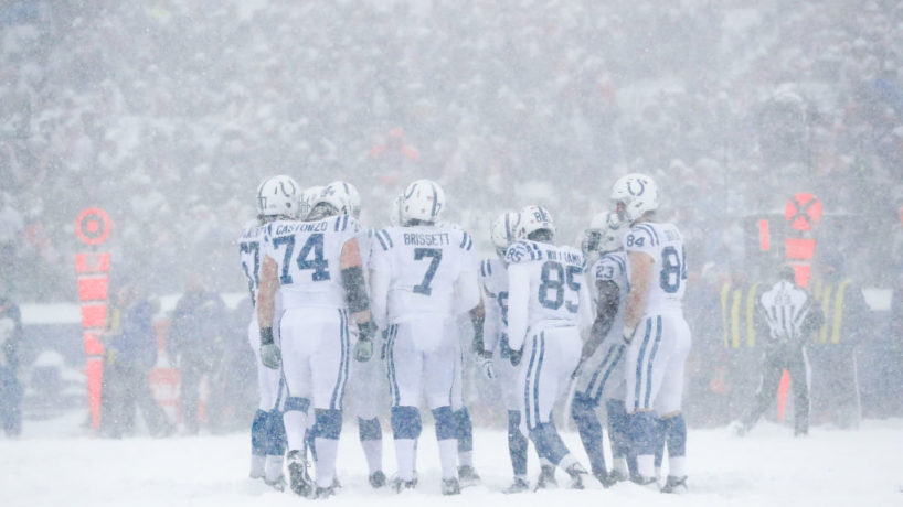 The Colts huddle together in the middle of a blizzard in their 2017 matchup against the Buffalo Bills