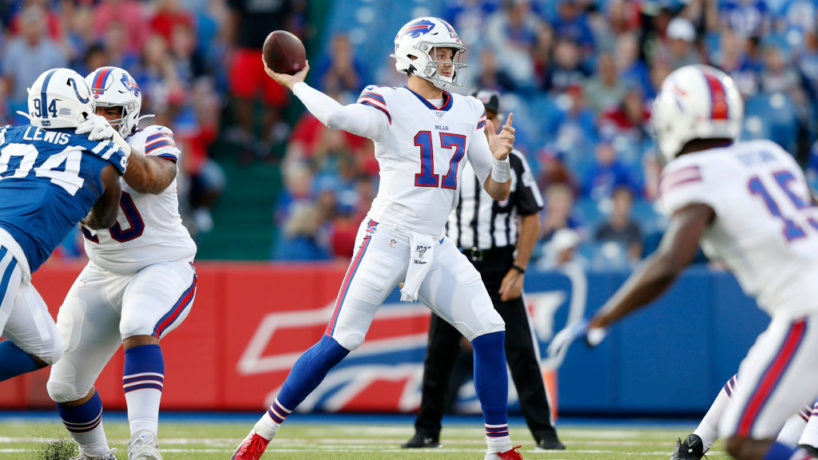 Bills QB-Josh Allen gets ready to throw against the Colts.