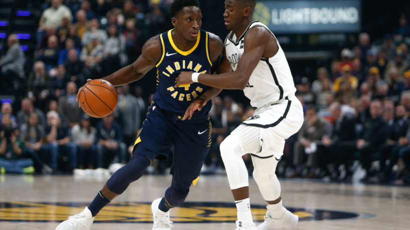 Pacers guard Victor Oladipo drives to the hoop.