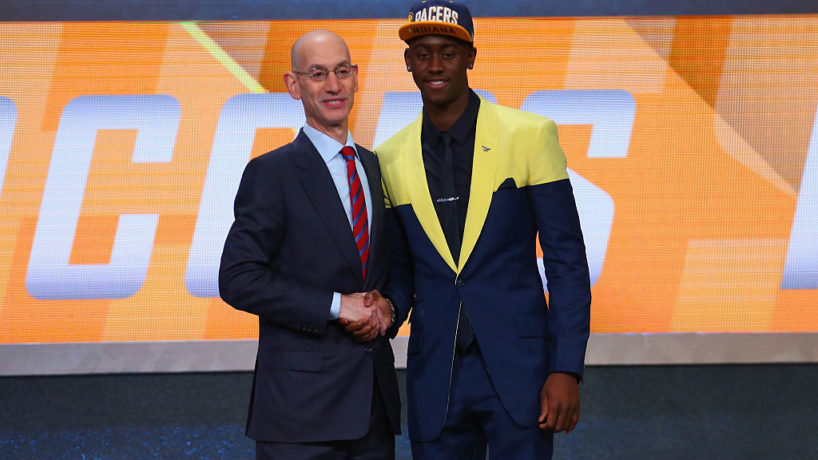 Pacers guard Caris LeVert gets drafted in 2016.