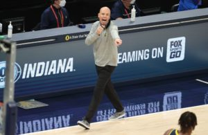 Pacers head coach Nate Bjorkgren yells during a game.