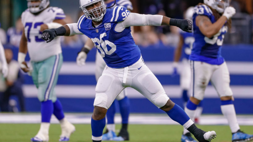 Colts DL-Denico Autry reacts after a big play.