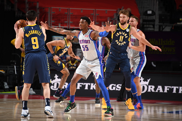 Pacers guard T.J. McConnell and forward Domantas Sabonis play against the Pistons.
