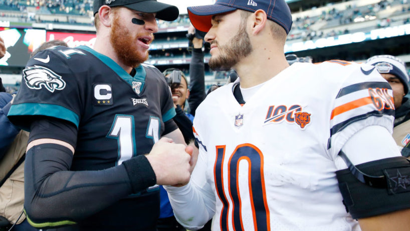 Carson Wentz and Mitchell Trubisky shake hands after a game.