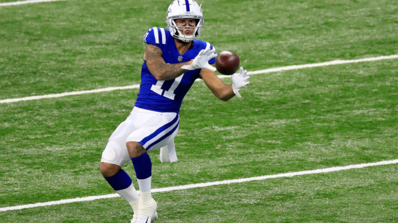 Colts WR-Michael Pittman makes a catch over the middle.