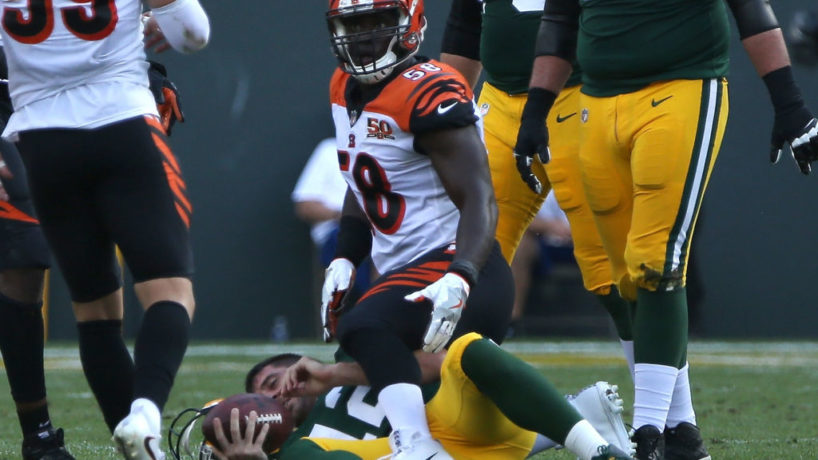 Bengals DE-Carl Lawson reacts after a sack.