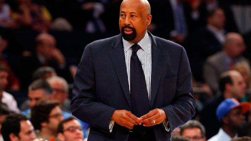 Mike Woodson coaches in a game against the Indiana Pacers on his team's sideline