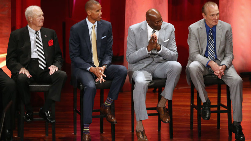 """SPRINGFIELD, MA - SEPTEMBER 08: (L-R) Naismith Memorial Basketball Hall of Famers Bobby """"Slick"""" Leonard, Reggie Miller, Spencer Haywood and Rick Barry sit onstage as Naismith Memorial Basketball Hall of Fame Class of 2017 enshrinee George McGinnis speaks during the 2017 Basketball Hall of Fame Enshrinement Ceremony at Symphony Hall on September 8, 2017 in Springfield, Massachusetts. (Photo by Maddie Meyer/Getty Images)"""