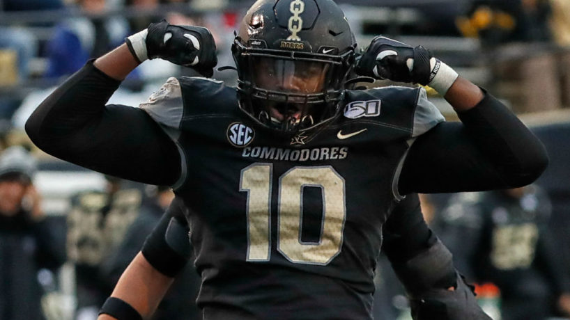 Vanderbilt DL-Dayo Odeyingbo reacts after a big play.