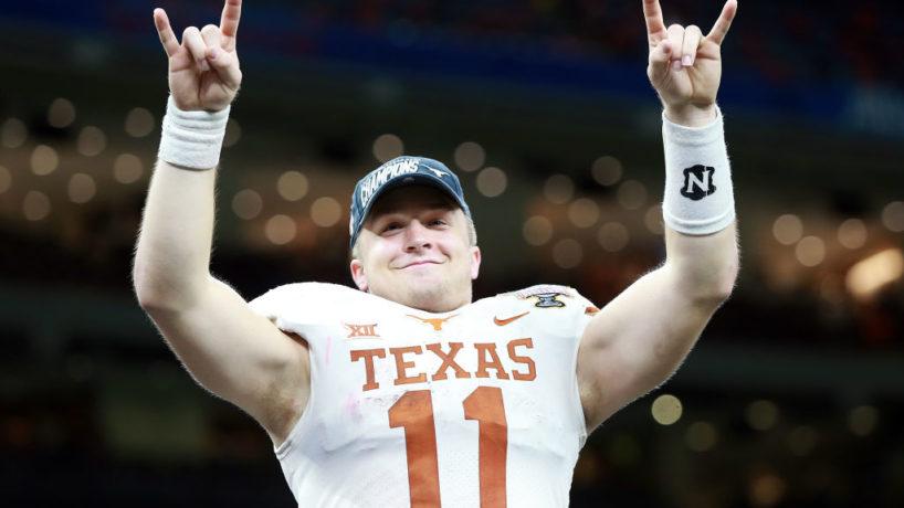 Texas QB-Sam Ehlinger reacts afer a win.