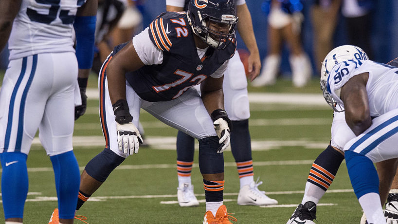 Charles Leno Jr sets up in his stance on the Bears offensive line against the Indianapolis Colts