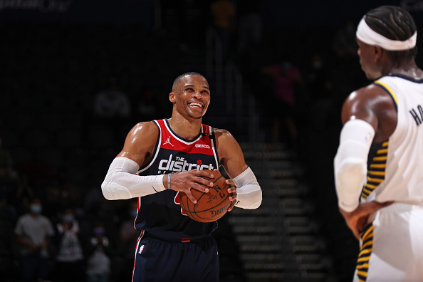 Wizards guard Russell Westbrook gets ready to drive.